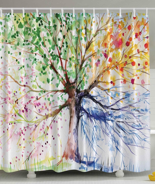 Watercolor Tree Curtain Design
