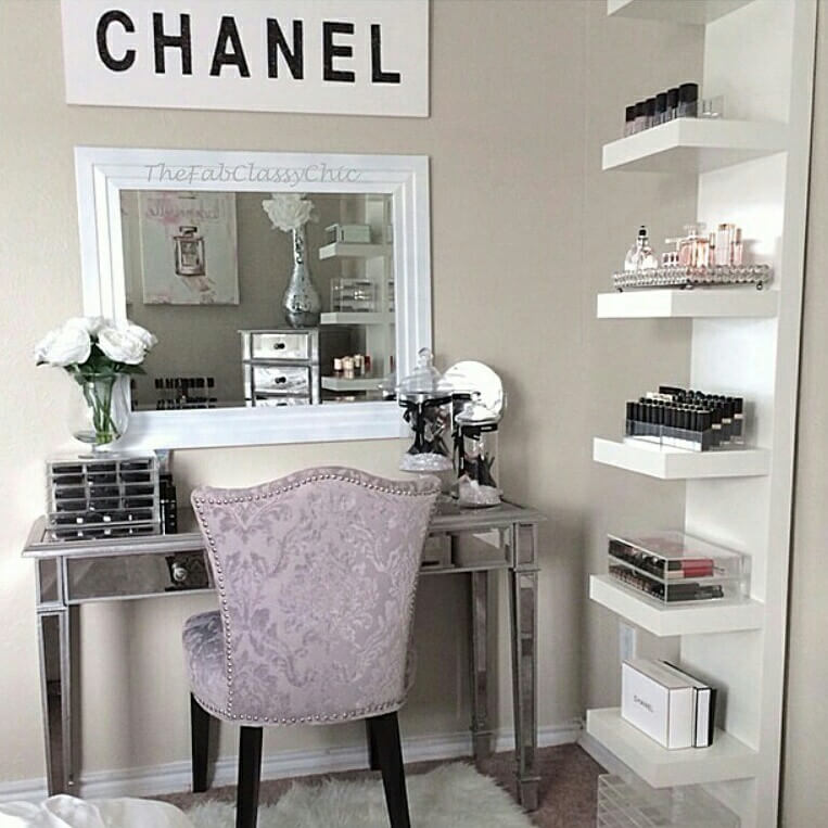 Beau Chanel Inspired Vanity Corner With Storage Shelves