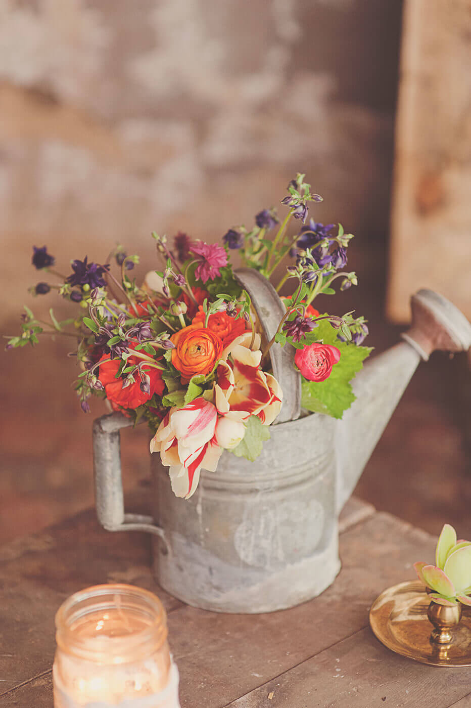 Rustic Metal Watering Can Planter