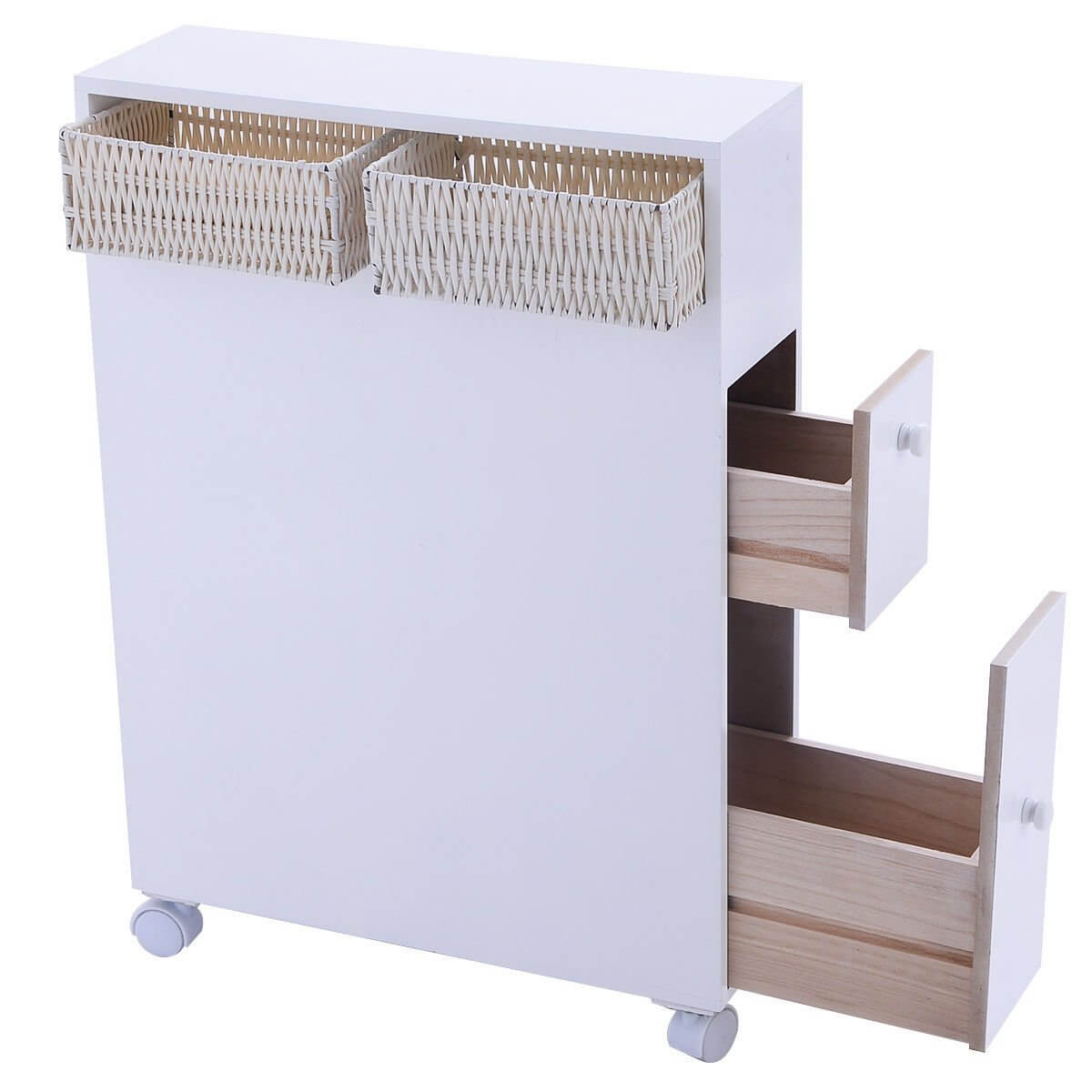 Tangkula Wood Floor Bathroom Storage Rolling Cabinet Holder