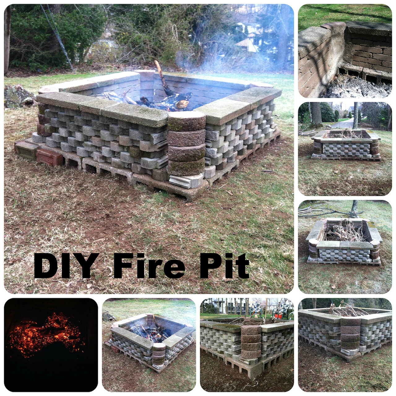 Large Cinder Block and Stone Firepit