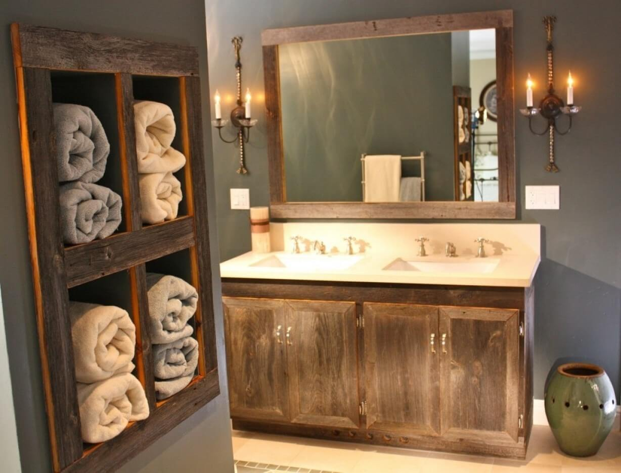 19. Antique Wood Vanity And Towel Organizer