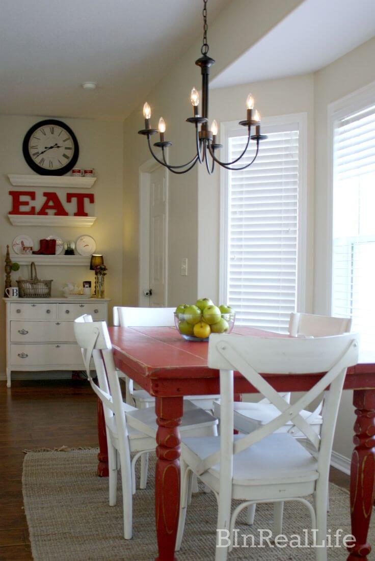 Basic Farmhouse Dining Room with Simple Rustic Decor