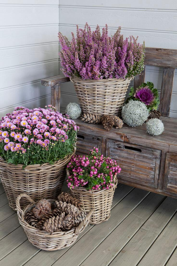 29 best front door flower pots ideas and designs for 2018 pretty wicker basket flower pots mightylinksfo
