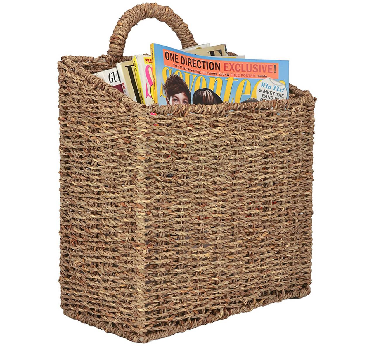 Rustic Wall-Mounted Magazine Basket