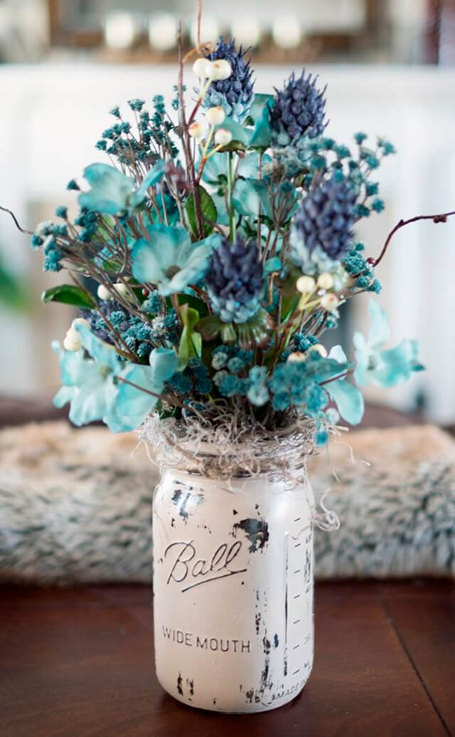 Whitewashed Mason Jar of Cerulean Dried Flowers