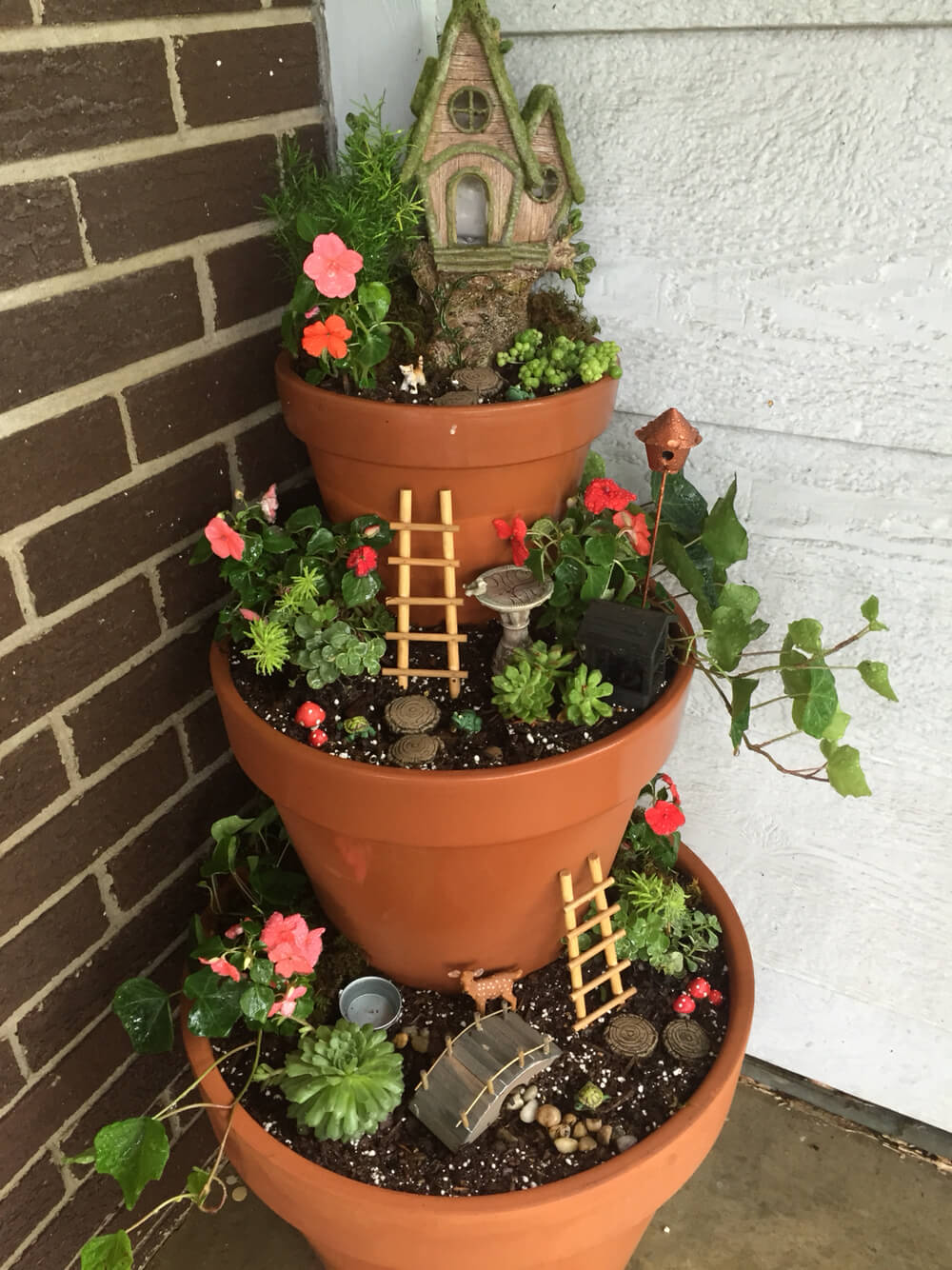 20. Tiered Front Porch Fairy Garden & 29 Best Front Door Flower Pots (Ideas and Designs) for 2019