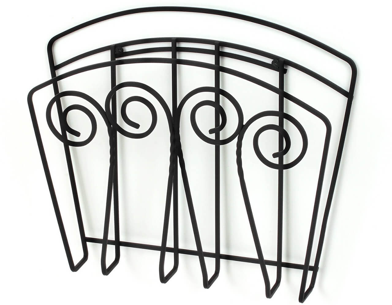 Black Magazine Wall Rack with Scroll Detail