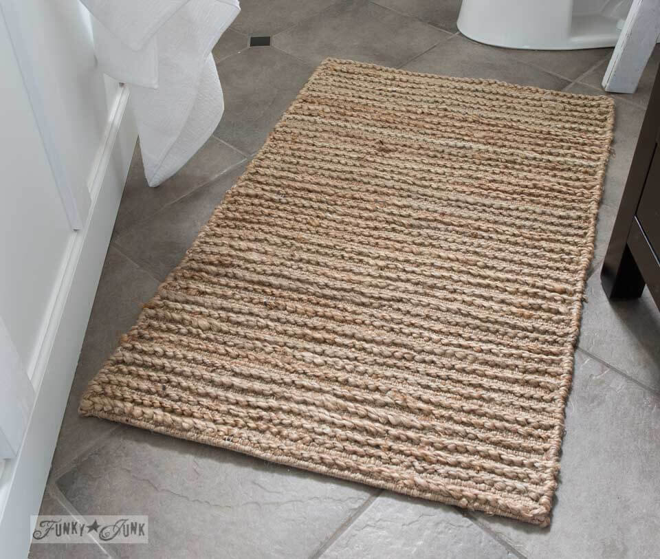 Rustic Sisal Farmhouse Bathroom Rug Homebnc