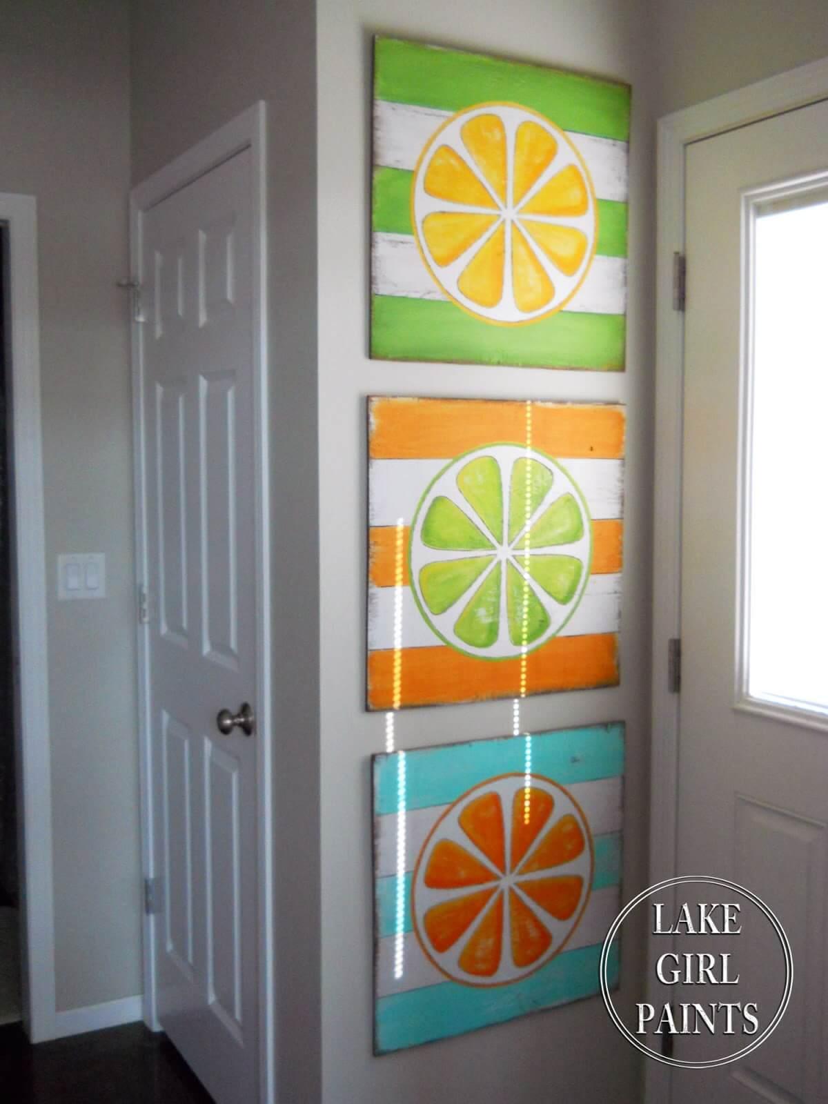 Colorful Citrus Wood Paintings Trio