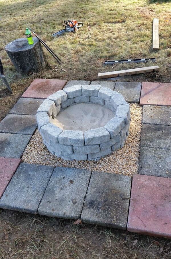 Easy Stone And Block Firepit