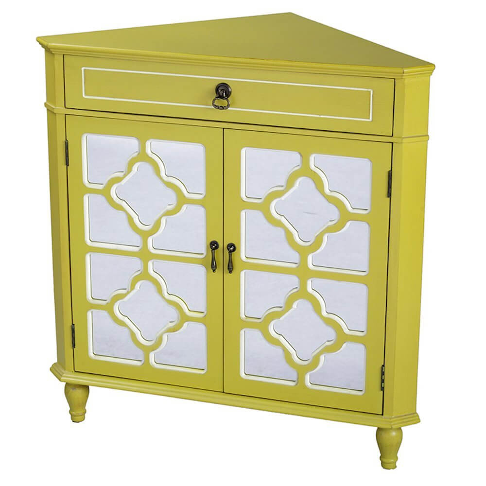 Heather Ann Creations 2-Door Corner Cabinet with Drawer