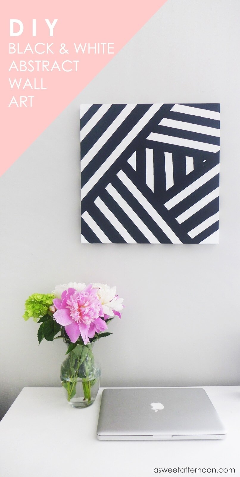 Black And White Striped DIY Wall Art Idea