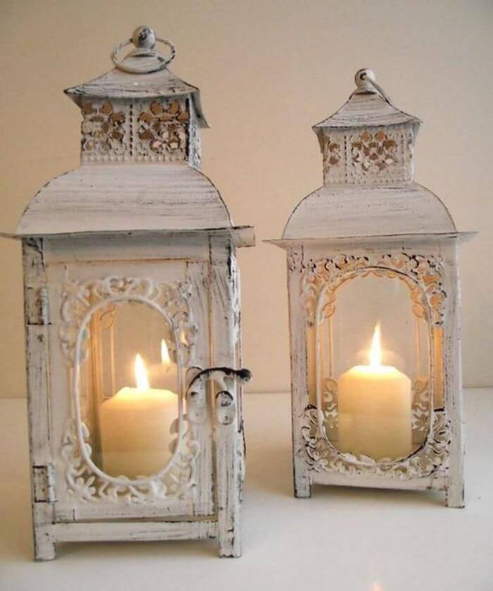 antique look candle lanterns decoration with cuisine shabby chic. Black Bedroom Furniture Sets. Home Design Ideas