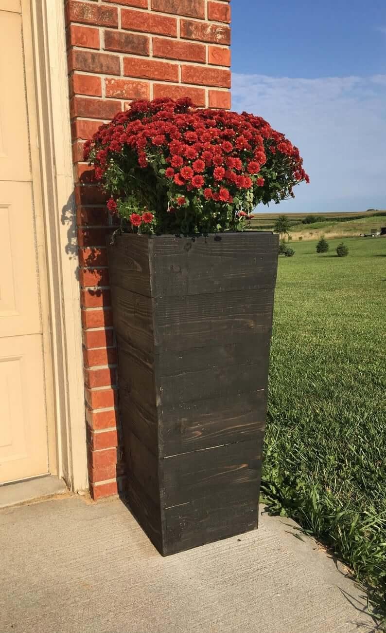 Tall Tapered Cedar Wood Planter