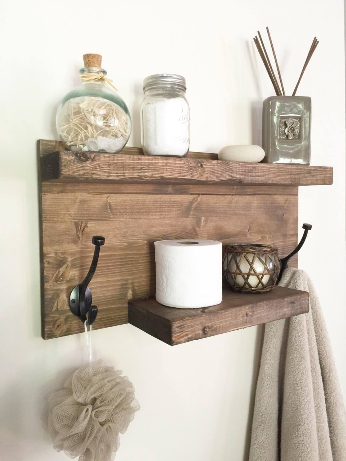 25. DIY Wood Towel Rack And Organizer