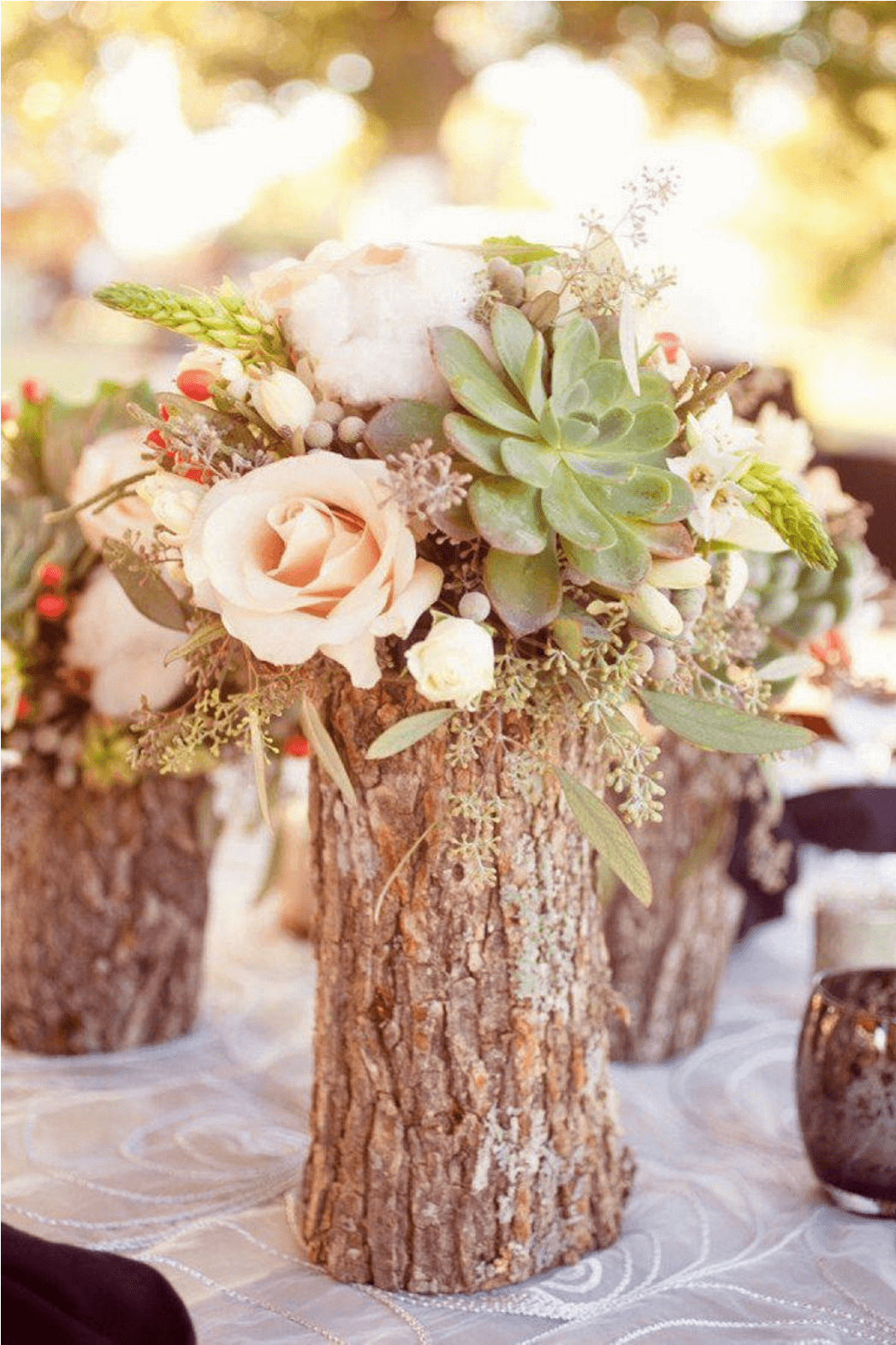 Woodsy Fallen Log Flower Vases