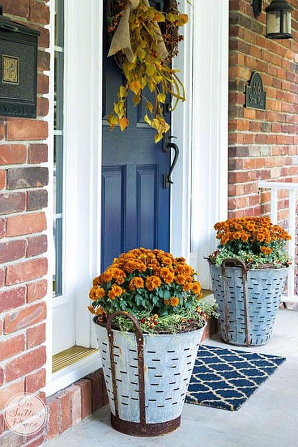 Metal Olive Bucket Fall Planters