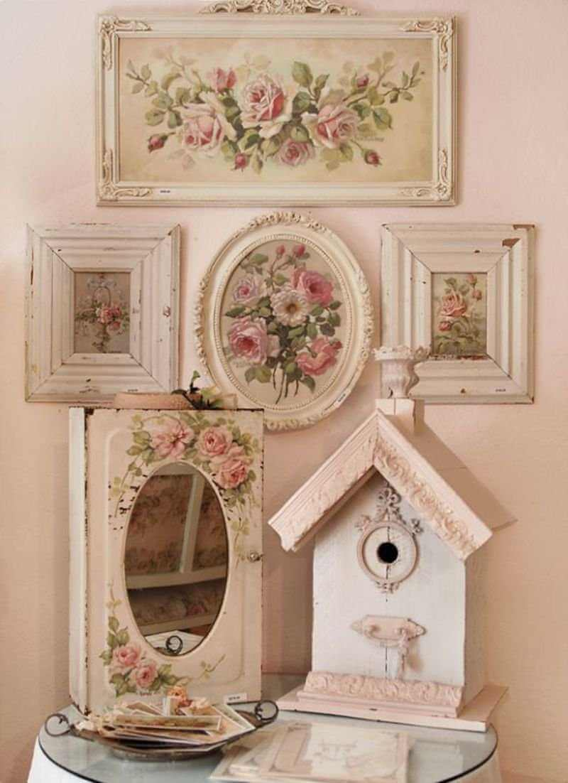 shabby chic gallery wall decor idea - Shabby Chic Design Ideas