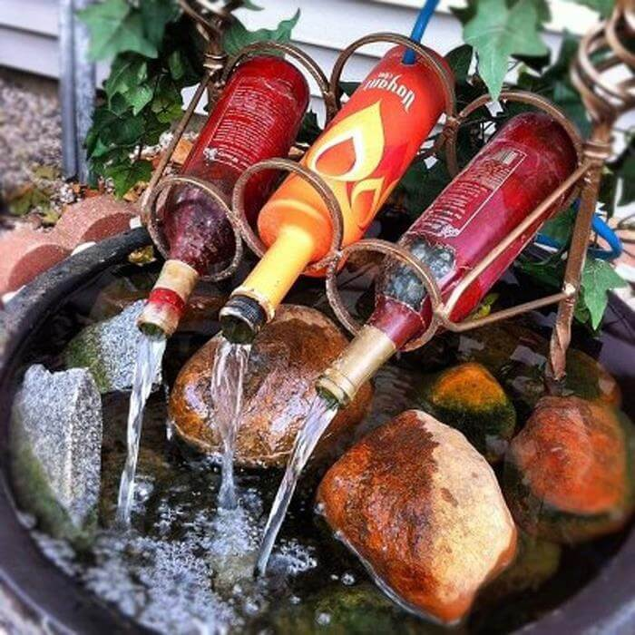 DIY Wine Bottle Water Feature