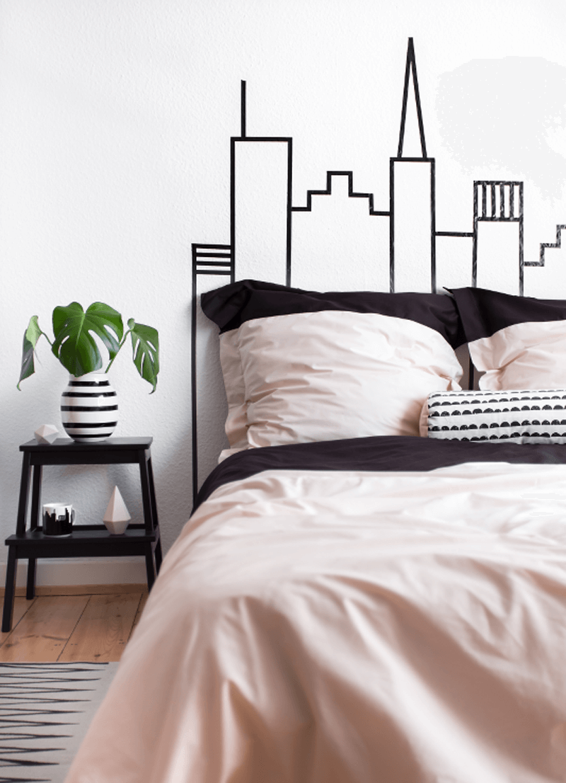 Superb Washi Tape Skyline Headboard Wall Decoration