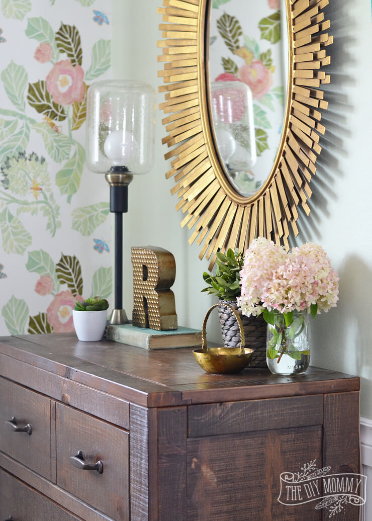 Flashy Decor on a Subtle Wood Dresser