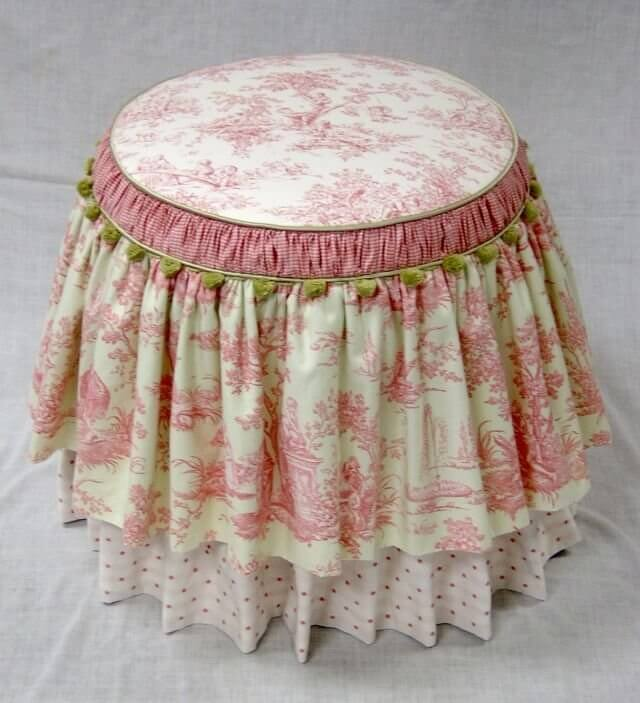 Toile, Polka Dot, and Gingham Dressing Stool