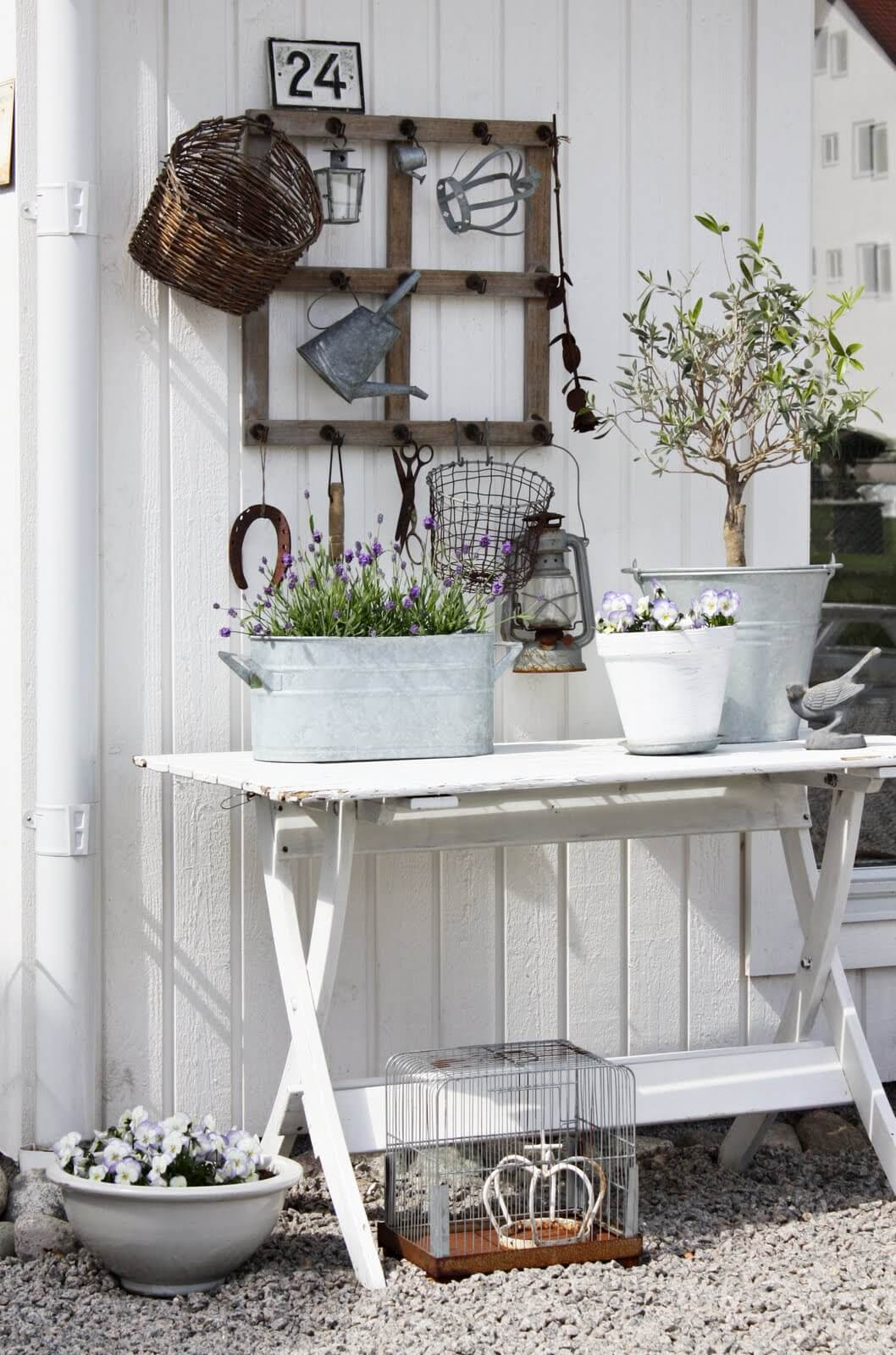Exceptional Garden Display Table With Vintage Metal Touches