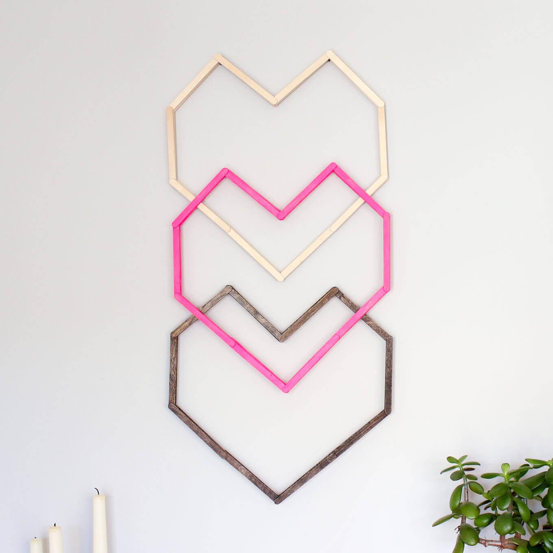 Popsicle Stick Hearts DIY Wall Art Design