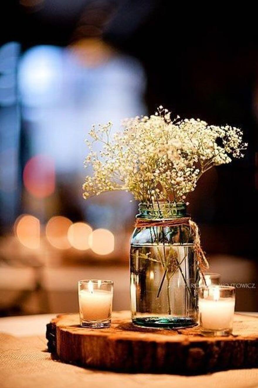 Baby's Breath Bouquet Illuminated by Candles