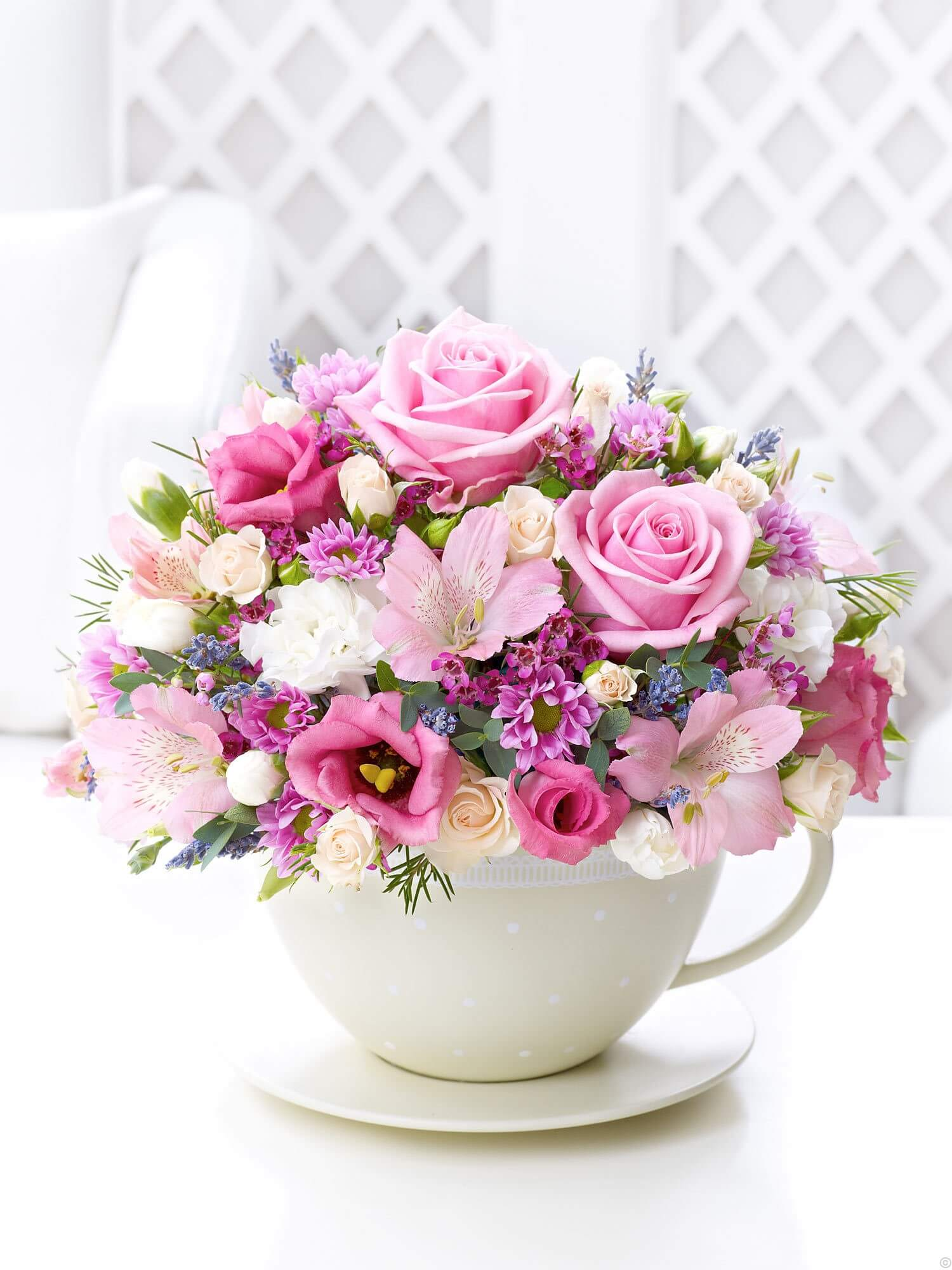 Teacup of Roses, Mums, and Austrolmaria
