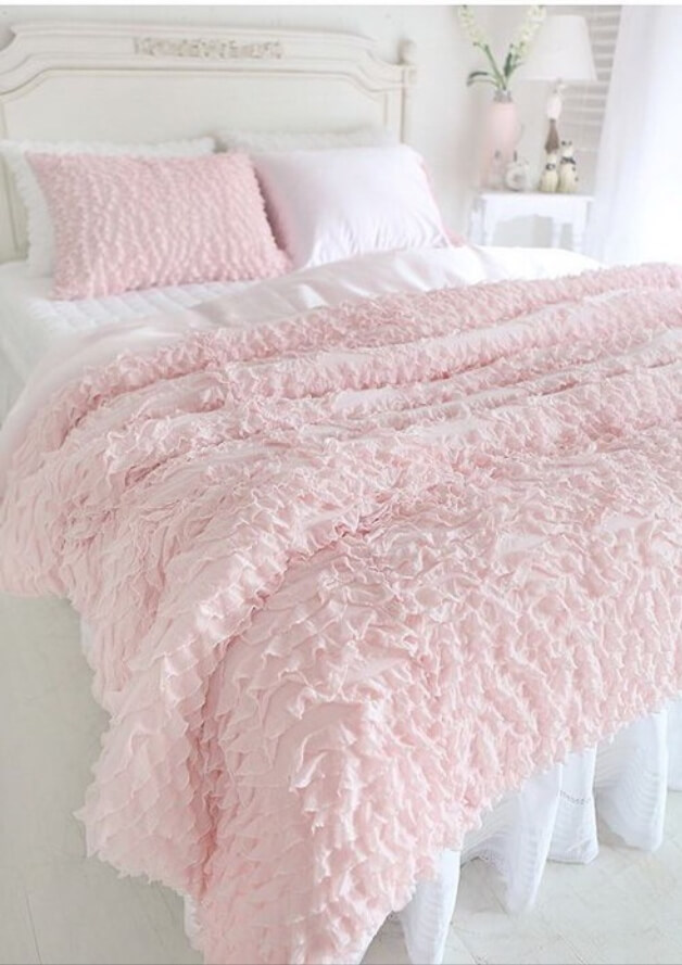 Shabby Chic Pink Ruffled Bedding