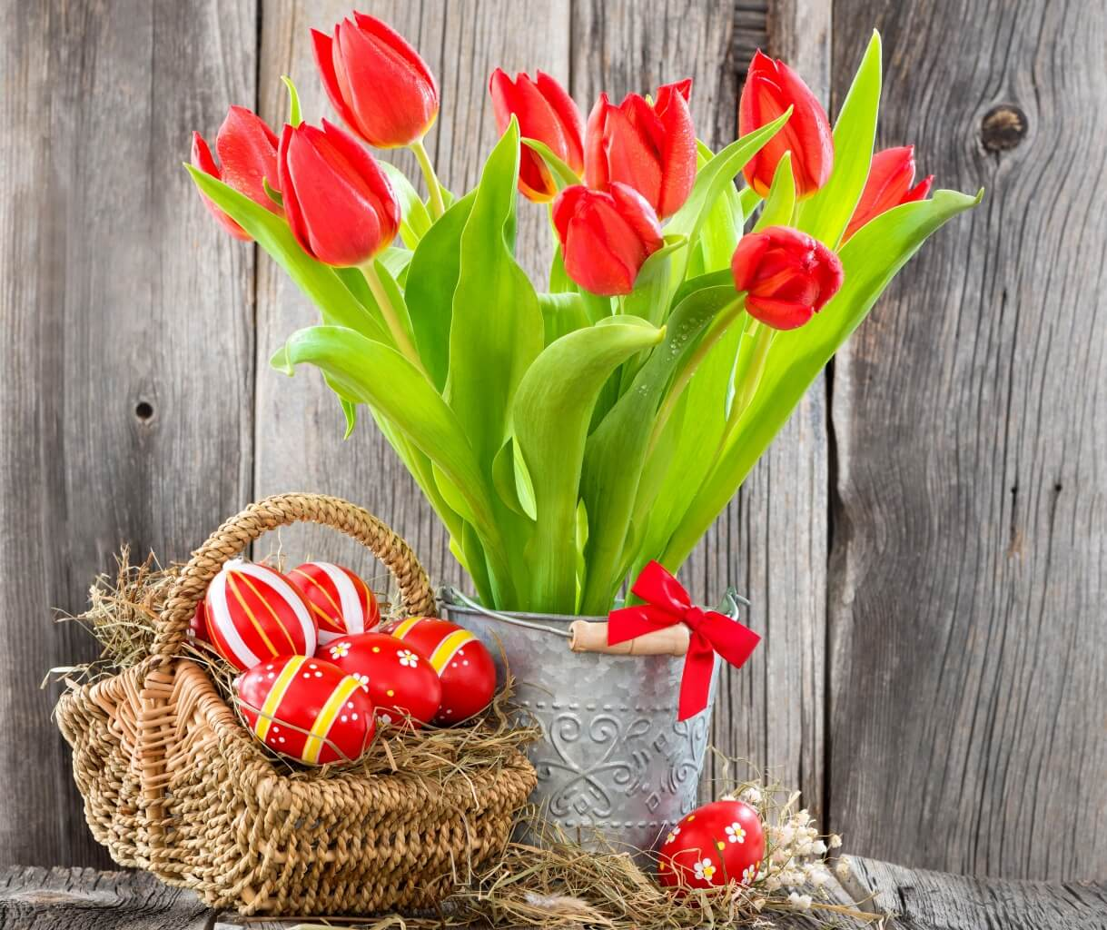 Crimson Tulips and Vibrantly Painted Eggs