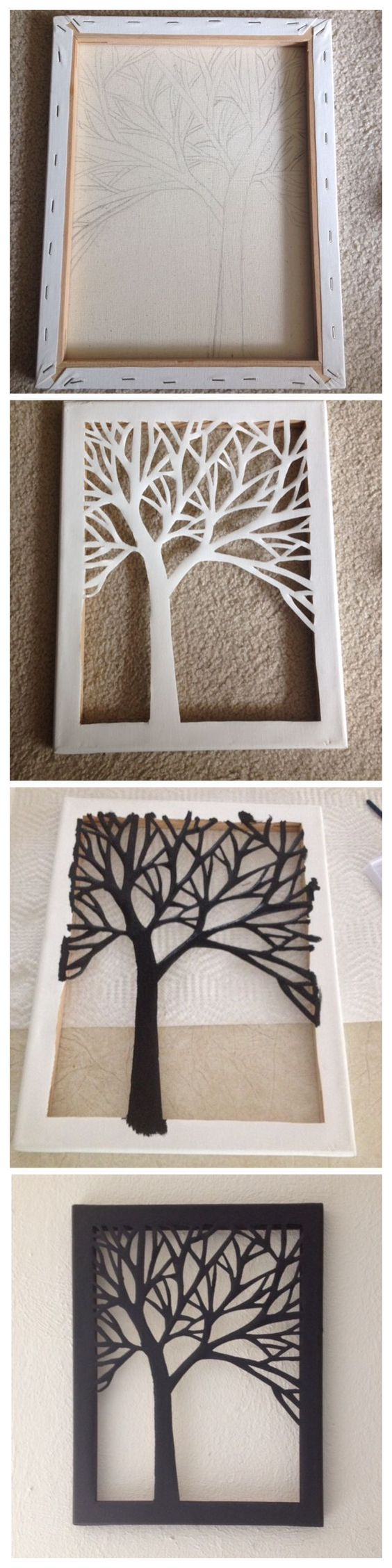 DIY Cut Canvas Tree Art