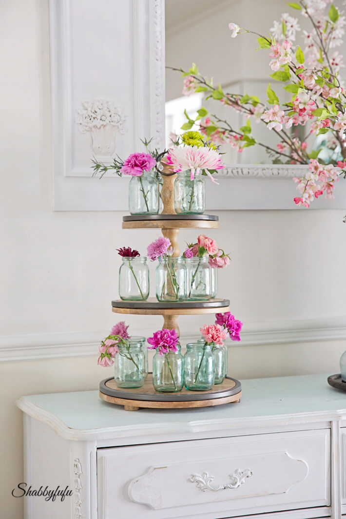Three-tiered Stand for Mini Mason Jar Blooms