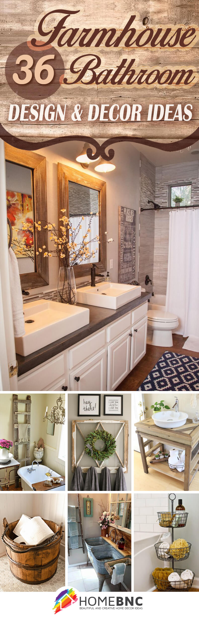 36 Best Farmhouse Bathroom Design and Decor Ideas for 2017