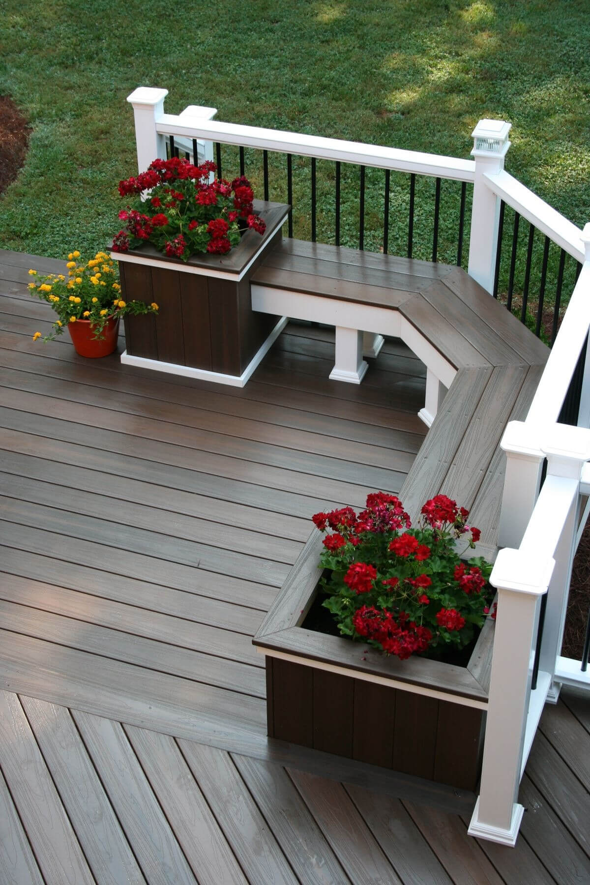 of adjustable deck on qvc planters watch large planter set railing