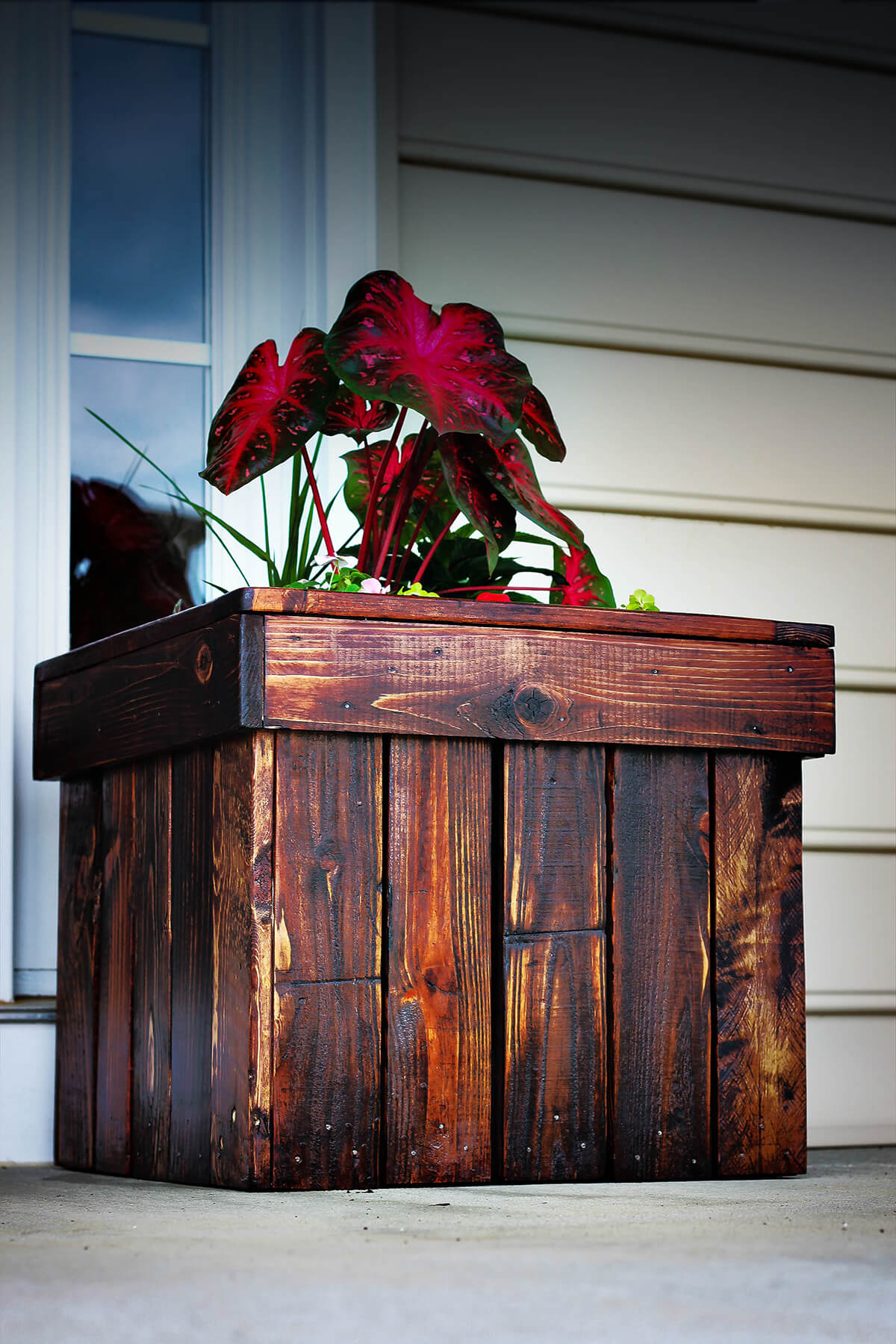 Dark Stained Wood DIY Planter Box