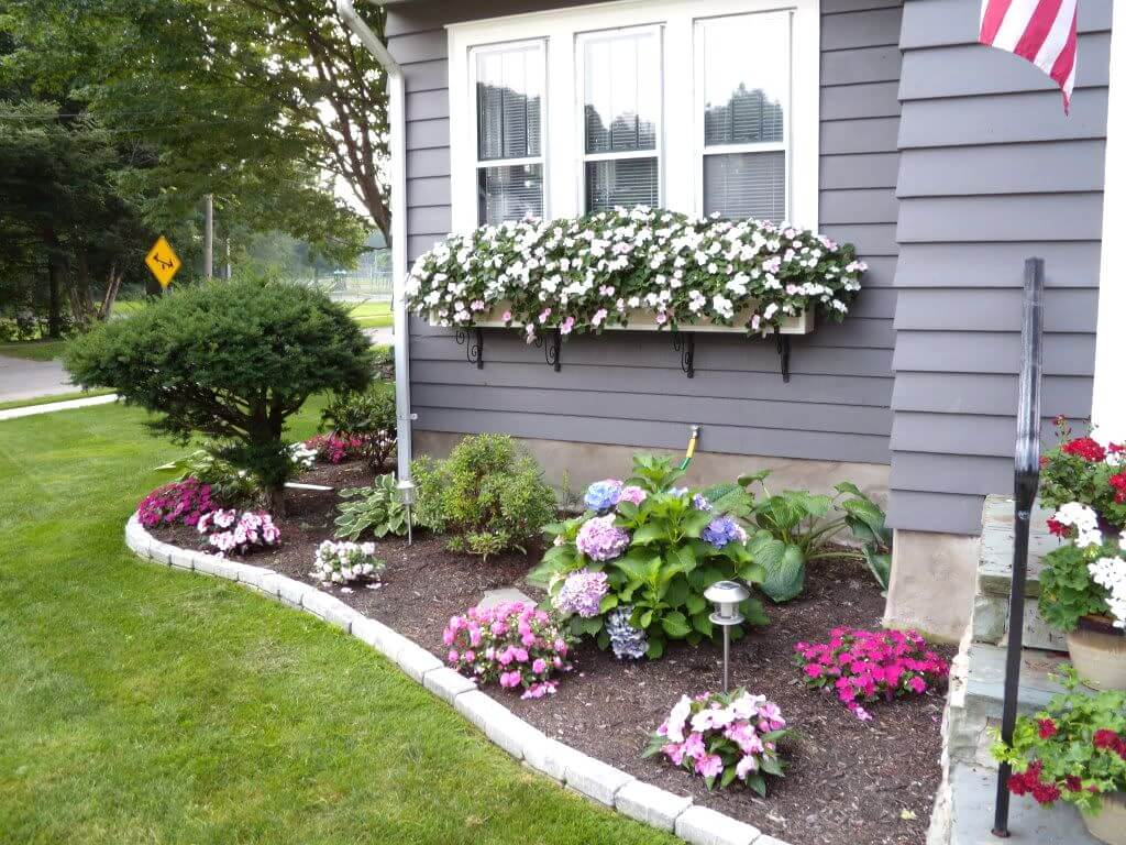 1 cheerful floral border and window boxes - Front Yard Garden Ideas Pictures