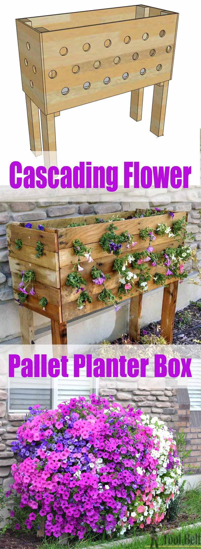 Cascading Flower Wood Pallet Planter Box