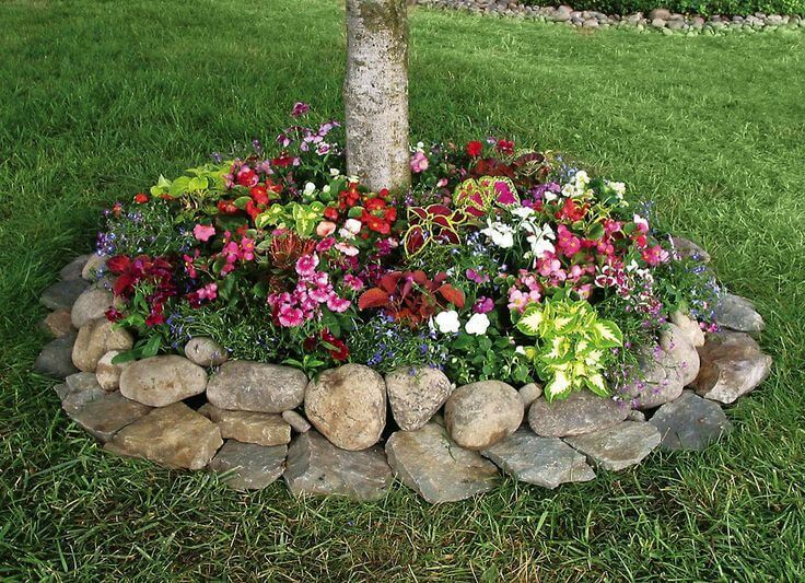 tree base flower bed with rocks - Pictures Of Flower Bed Ideas