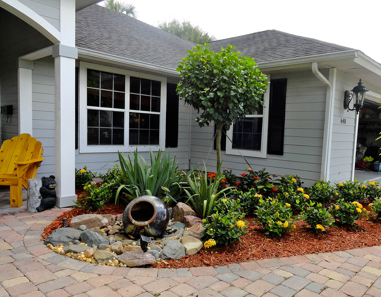 Front Yard Landscape Design Ideas image of front yard landscaping designs style 2 Mini Water Feature Entryway