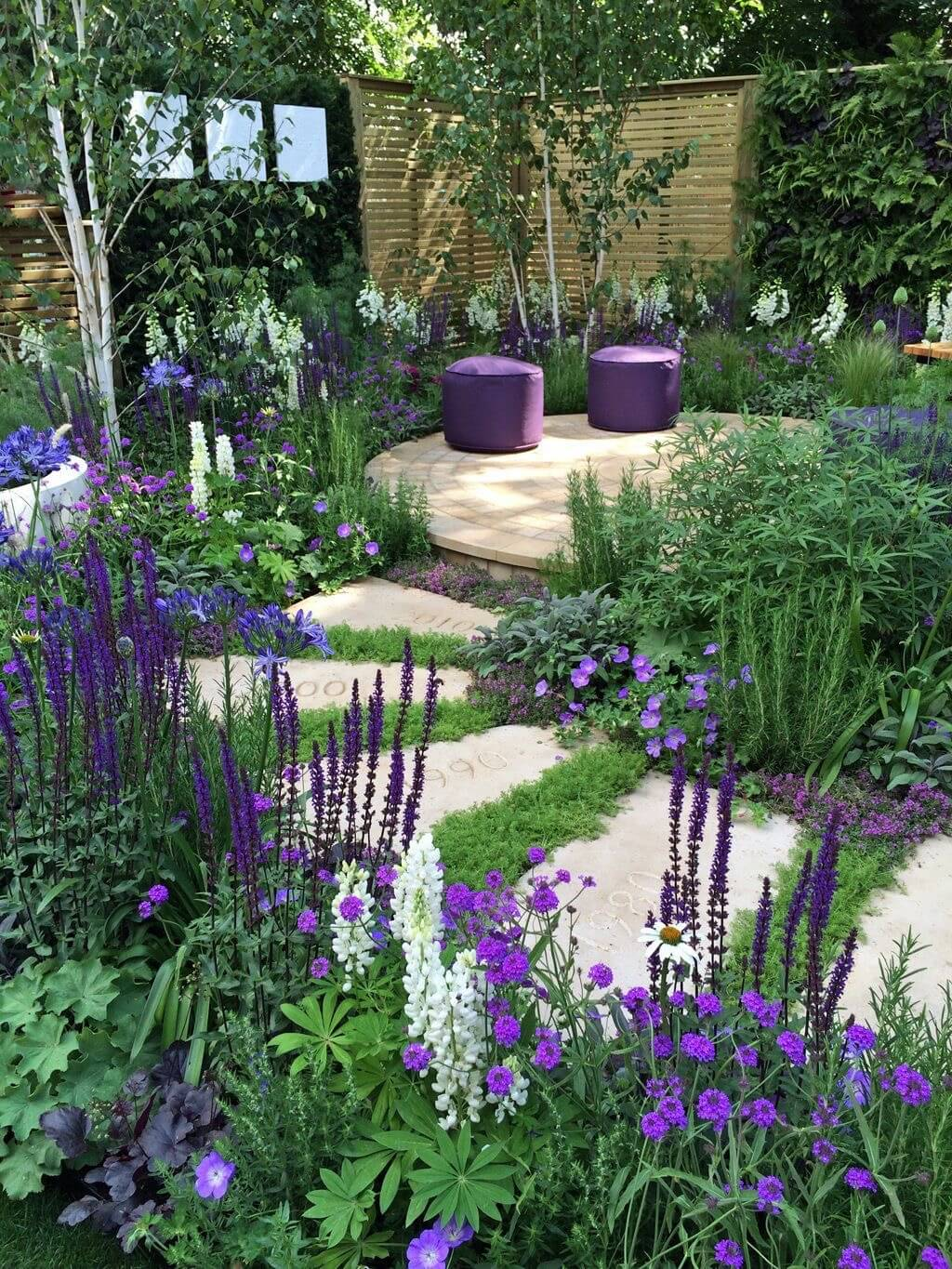 Stone Garden Path Ideas 32 natural and creative stone garden path ideas gardenoholic Simple Stone Pathway Sets Off Beautiful Plants