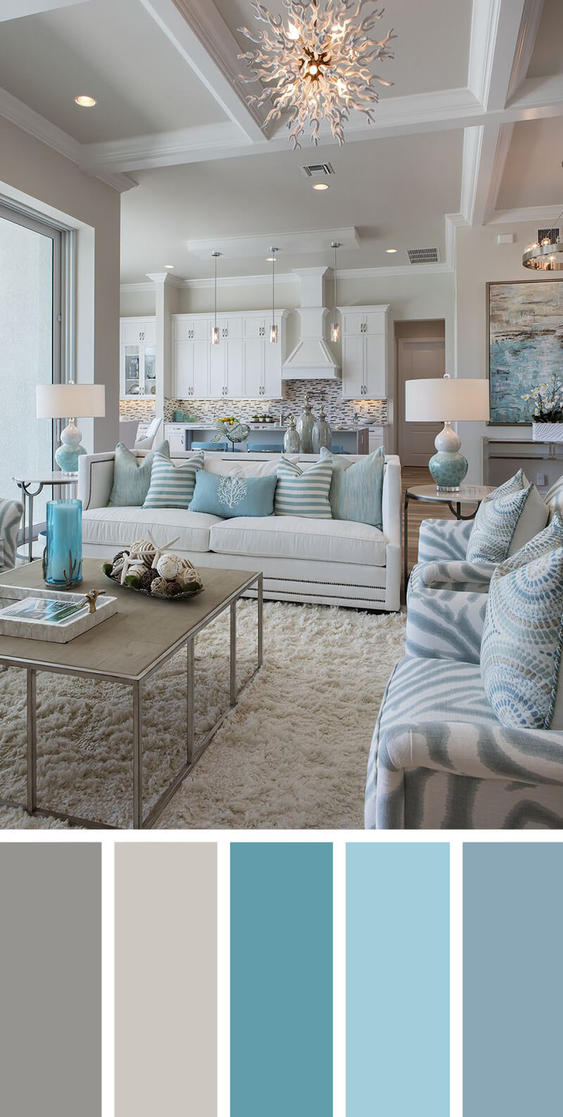 2. A Calming Sea of Blues & 7 Best Living Room Color Scheme Ideas and Designs for 2018
