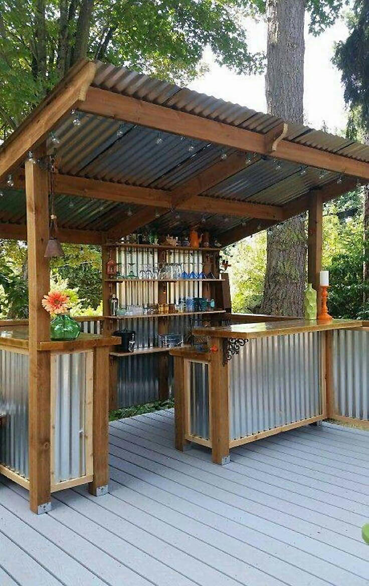 DIY Corrugated Metal Outdoor Bar