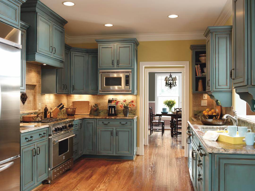 Rustic Kitchen Ideas Part - 37: Mediterannean Blue Rustic Kitchen