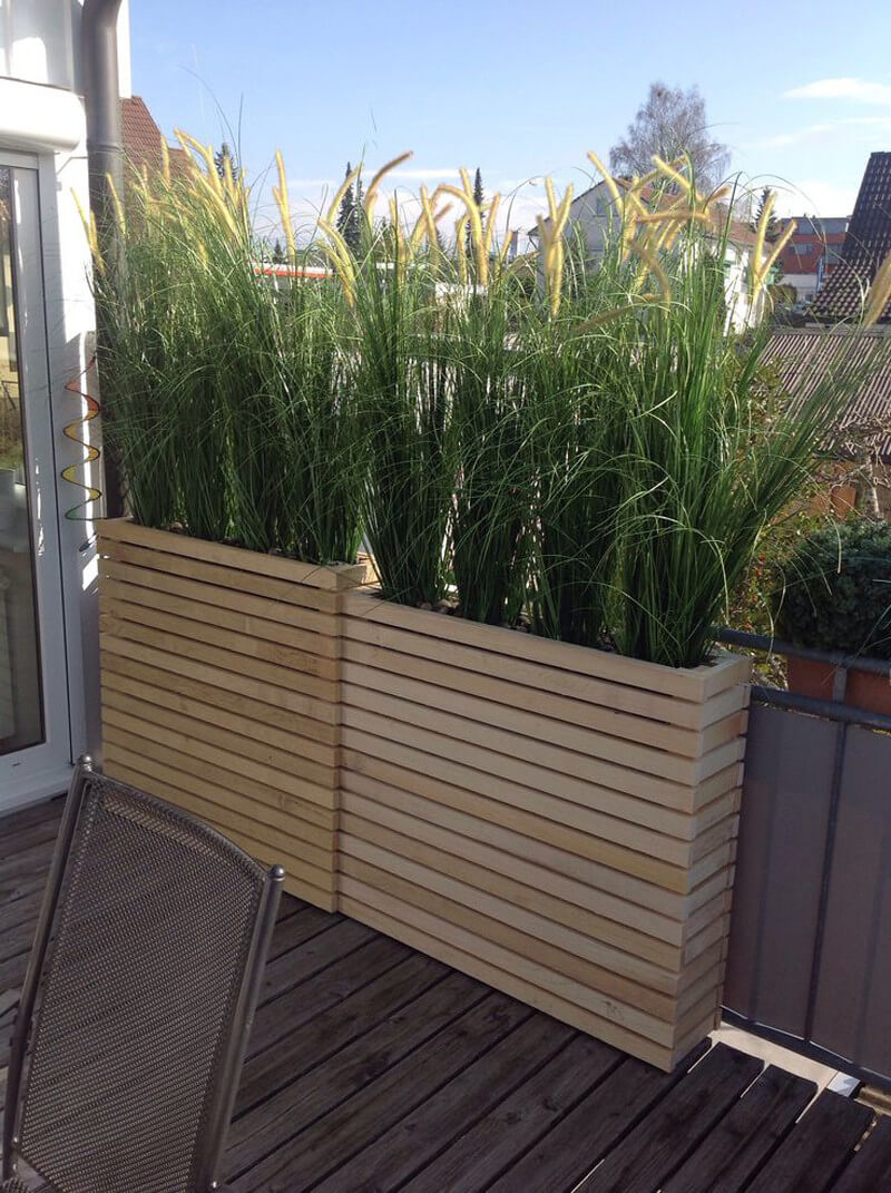 Built In Wooden Box Deck Planters