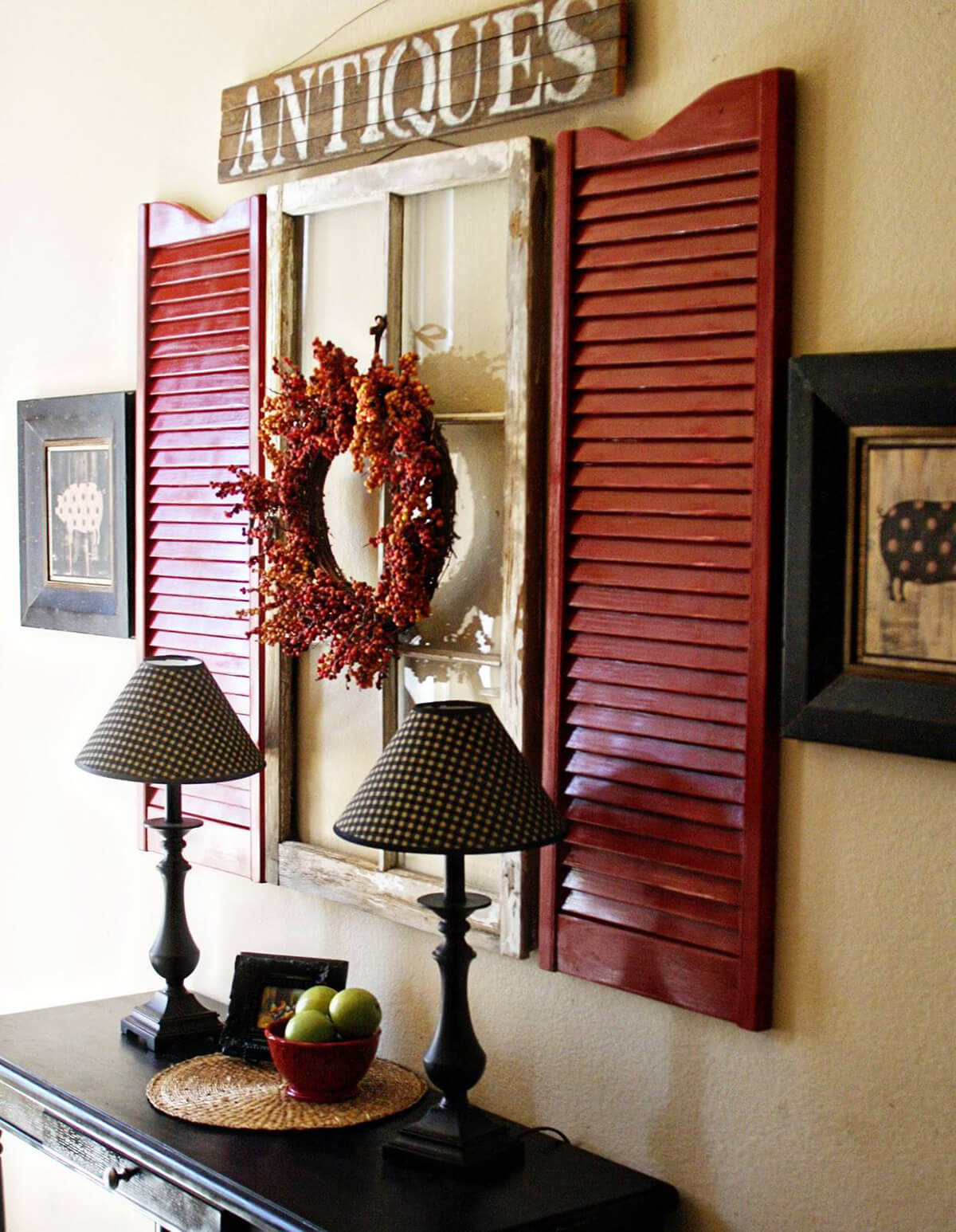4 vintage window and wall art - Shutter Designs Ideas