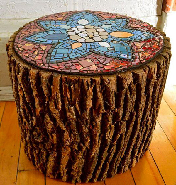 Rustic Mosaic Top Log Table
