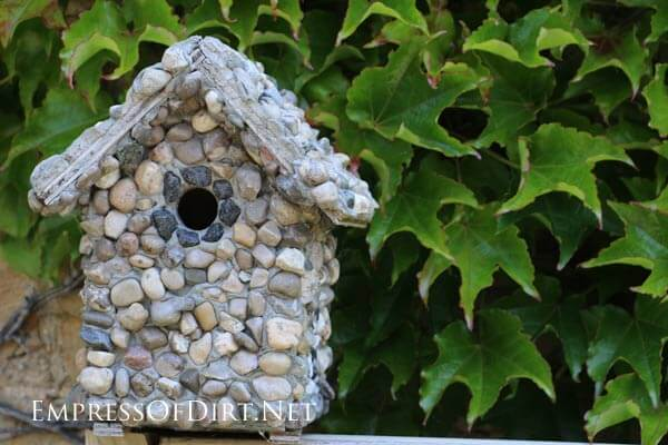 Easy DIY Rock Covered Birdhouse